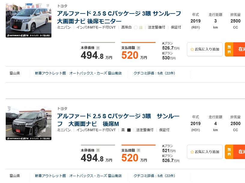 乗り出し 総額表示 諸費用 新車 中古車 未使用車 新古車